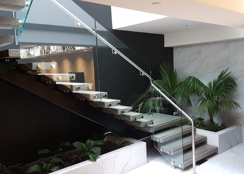 concrete stair steps clear railings