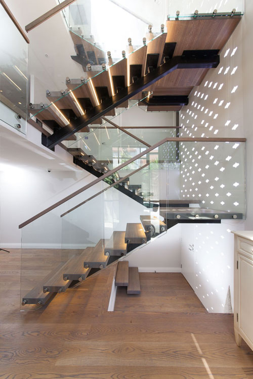 staircase with steel rails