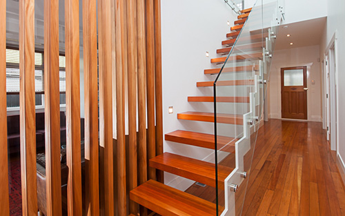 Serratus stairs – Stairs with steel cut-out stringer and Matai treads.