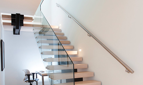 stairs with steel handrail