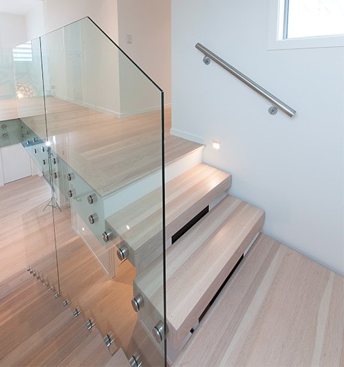 stairs with glass balustrade